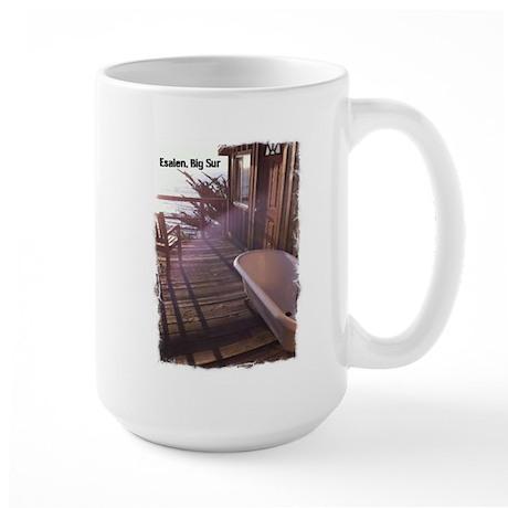 Room deck at Esalen, Big Sur Large Mug