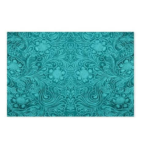 Leather Floral Turquoise Postcards (Package of 8)
