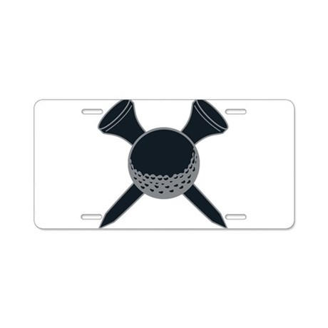 Black and Silver Golf Aluminum License Plate