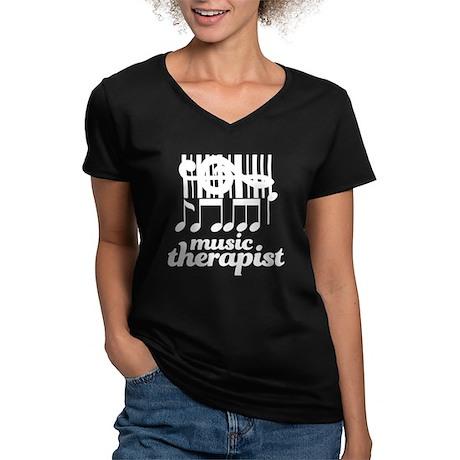 Music Therapist Gift Women's V-Neck Dark T-Shirt