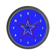 Red,White & Blue Star Wall Clock