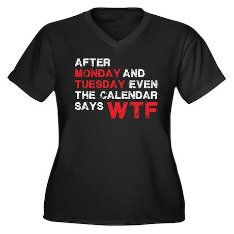 WTF Women's Plus Size V-Neck Dark T-Shirt