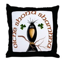 Gaelic Black Crow Throw Pillow