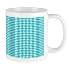 Houndstooth in Turquoise and White Mug