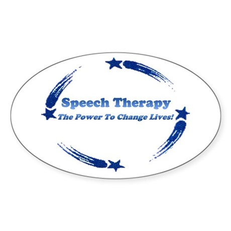 Power of Speech Therapy Oval Sticker