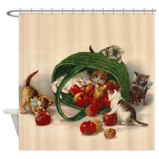 Kittens Play With Apples Shower Curtain By Vintagelove1