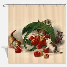 Kittens Play With Apples Shower Curtain
