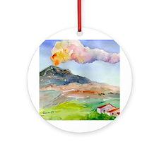 Sicilian Mt Etna Ornament (Round)