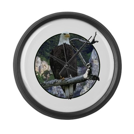 Bald Eagle in cliffs Large Wall Clock