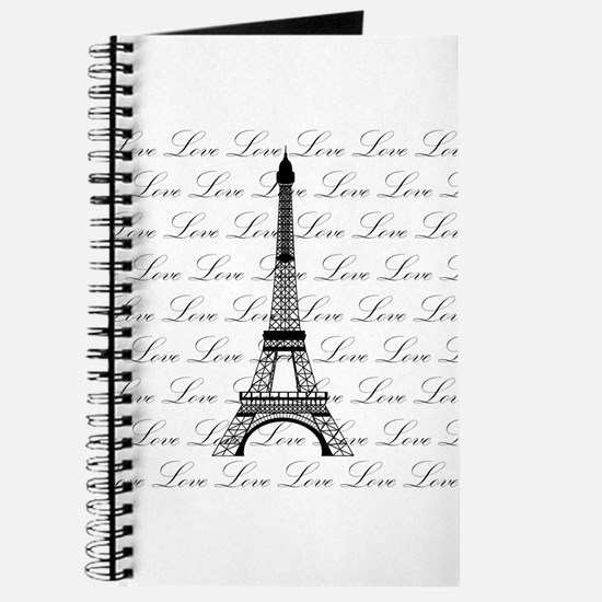 Paris Eiffel Tower Love Black and White Script Jou