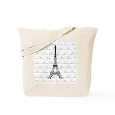 Paris Eiffel Tower Love Black and White Script Tot