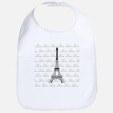Paris Eiffel Tower Love Black and White Script Bib