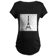 Paris Eiffel Tower Love Black and White Script Mat