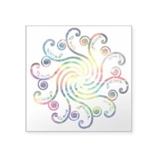 "Cosmic Peace Love Square Sticker 3"" x 3"""