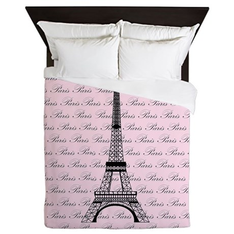 Pink and Black Paris Eiffel Tower Queen Duvet