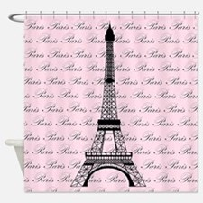 Pink and Black Paris Eiffel Tower Shower Curtain