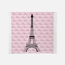 Pink and Black Paris Eiffel Tower Throw Blanket