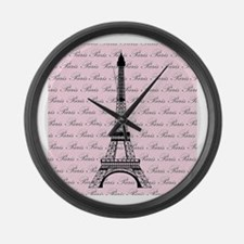 Pink and Black Paris Eiffel Tower Large Wall Clock