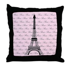 Pink and Black Paris Eiffel Tower Throw Pillow
