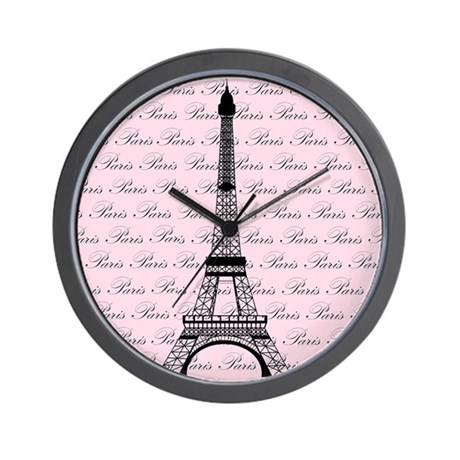 Pink and Black Paris Eiffel Tower Wall Clock