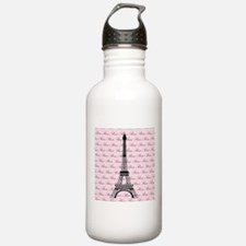 Pink and Black Paris Eiffel Tower Water Bottle
