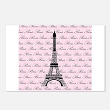 Pink and Black Paris Eiffel Tower Postcards (Packa