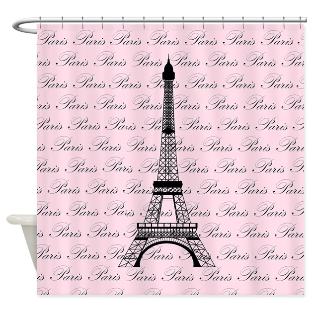 As Creation Pink Paris Pattern Eiffel Tower Childrens: Pink And Black Paris Eiffel Tower Shower Curtain By