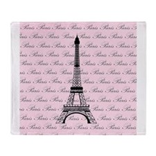 Pink and Black Paris Eiffel Tower Throw Blanket