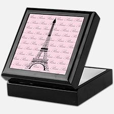 Pink and Black Paris Eiffel Tower Keepsake Box