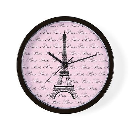 Pink and Black Paris Eiffel Tower Wall Clock