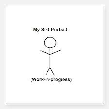 "Funny Self-Portrait Square Car Magnet 3"" x 3"""