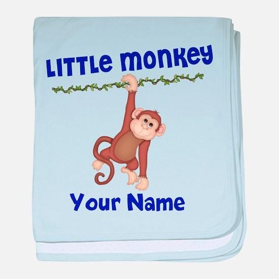 Monkey Boy Kids Personalized baby blanket
