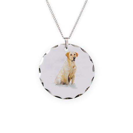 Labrador Retriever & Snowflakes Necklace Circle Ch