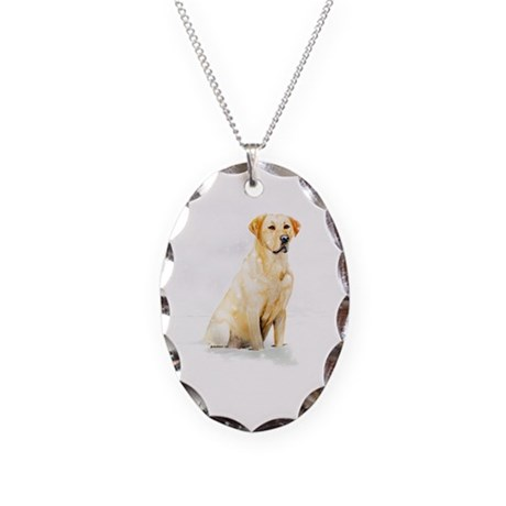 Labrador Retriever & Snowflakes Necklace Oval Char