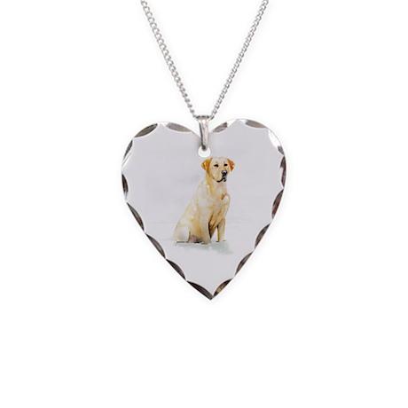 Labrador Retriever & Snowflakes Necklace Heart Cha