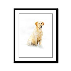 Labrador Retriever & Snowflakes Framed Panel Print