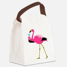 Pink Flamingo Drinking A Martini Canvas Lunch Bag