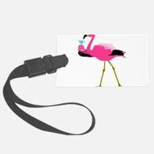 Pink Flamingo Drinking A Martini Luggage Tag