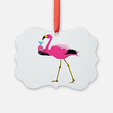 Pink Flamingo Drinking A Martini Ornament