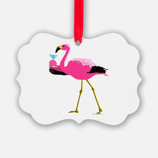 Pink Flamingo Drinking A Martini Ornament