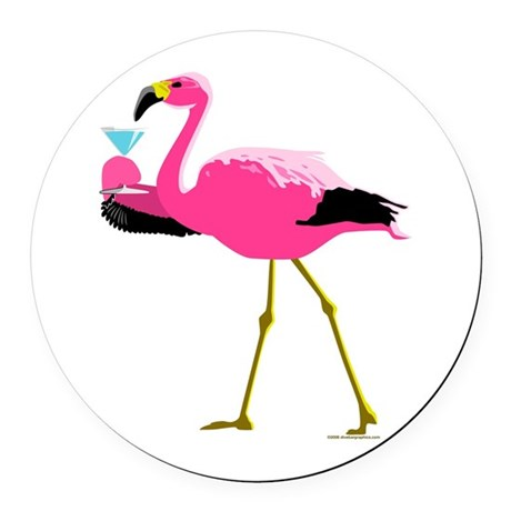 Pink Flamingo Drinking A Martini Round Car Magnet