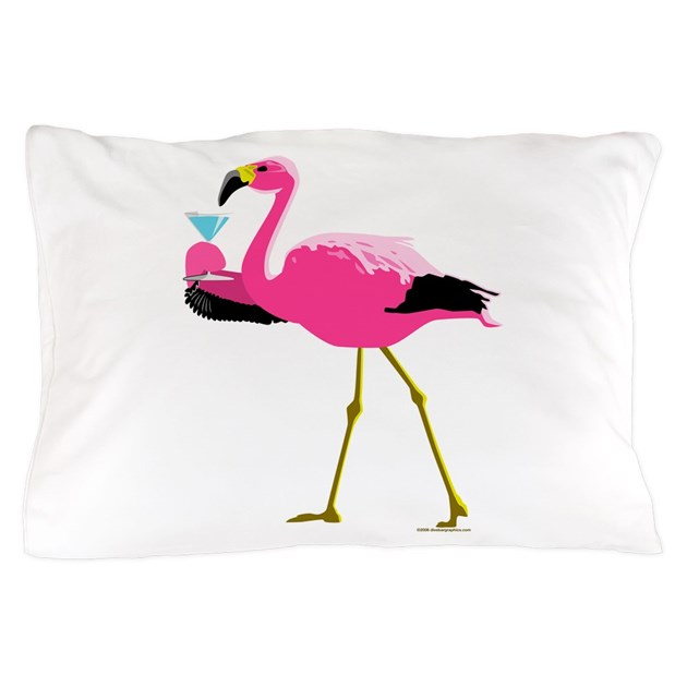 Pink Flamingo Drinking A Martini Pillow Case By