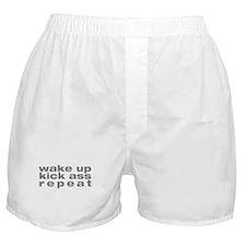 wake up kick ass repeat Boxer Shorts