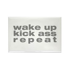 wake up kick ass repeat Rectangle Magnet