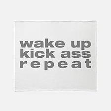 wake up kick ass repeat Throw Blanket