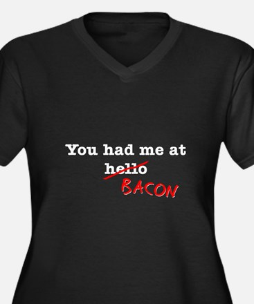 Bacon You Had Me At Women's Plus Size V-Neck Dark