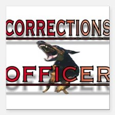 """CORRECTIONS OFFICER Square Car Magnet 3"""" x 3"""""""