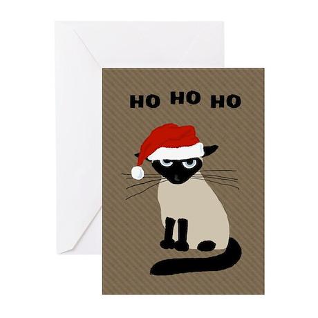 Siamese Santa Claws Greeting Cards (Pk of 10)