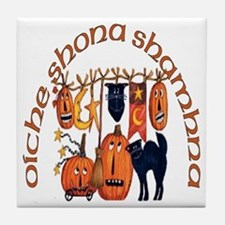 Symbols of Halloween (Gaelic) Tile Coaster