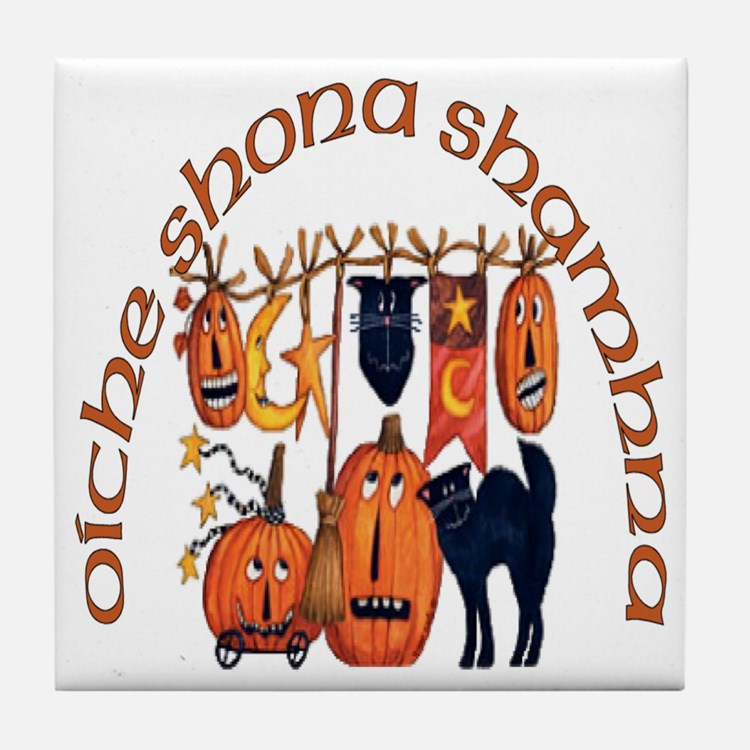 Symbols of Halloween (Gaelic) Tile Coaster